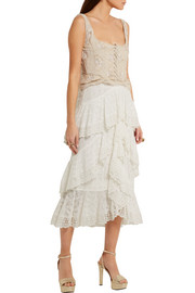 Alexander McQueen Silk organza-trimmed embroidered crinkled leather top