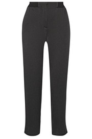 Silk-matelassé straight-leg pants