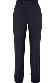 Mohair and wool-blend straight-leg pants