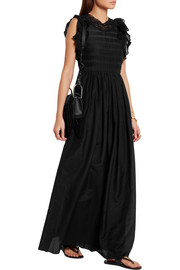 Eurasia ruffled cotton and silk-blend voile maxi dress