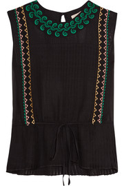 Elba embroidered silk top