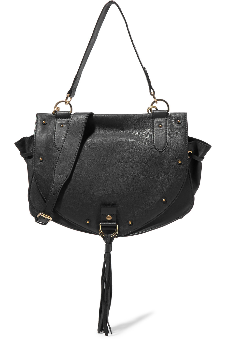 See by Chloé Collins Medium Textured-Leather Shoulder Bag, Black, Women's