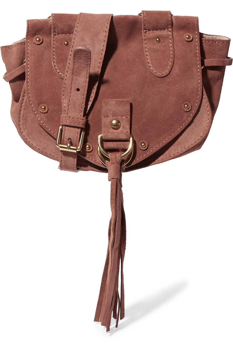See by Chloé Collins Small Suede and Textured-Leather Shoulder Bag, Brick, Women's