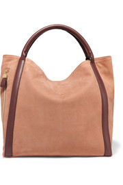 Harriet leather-trimmed nubuck tote