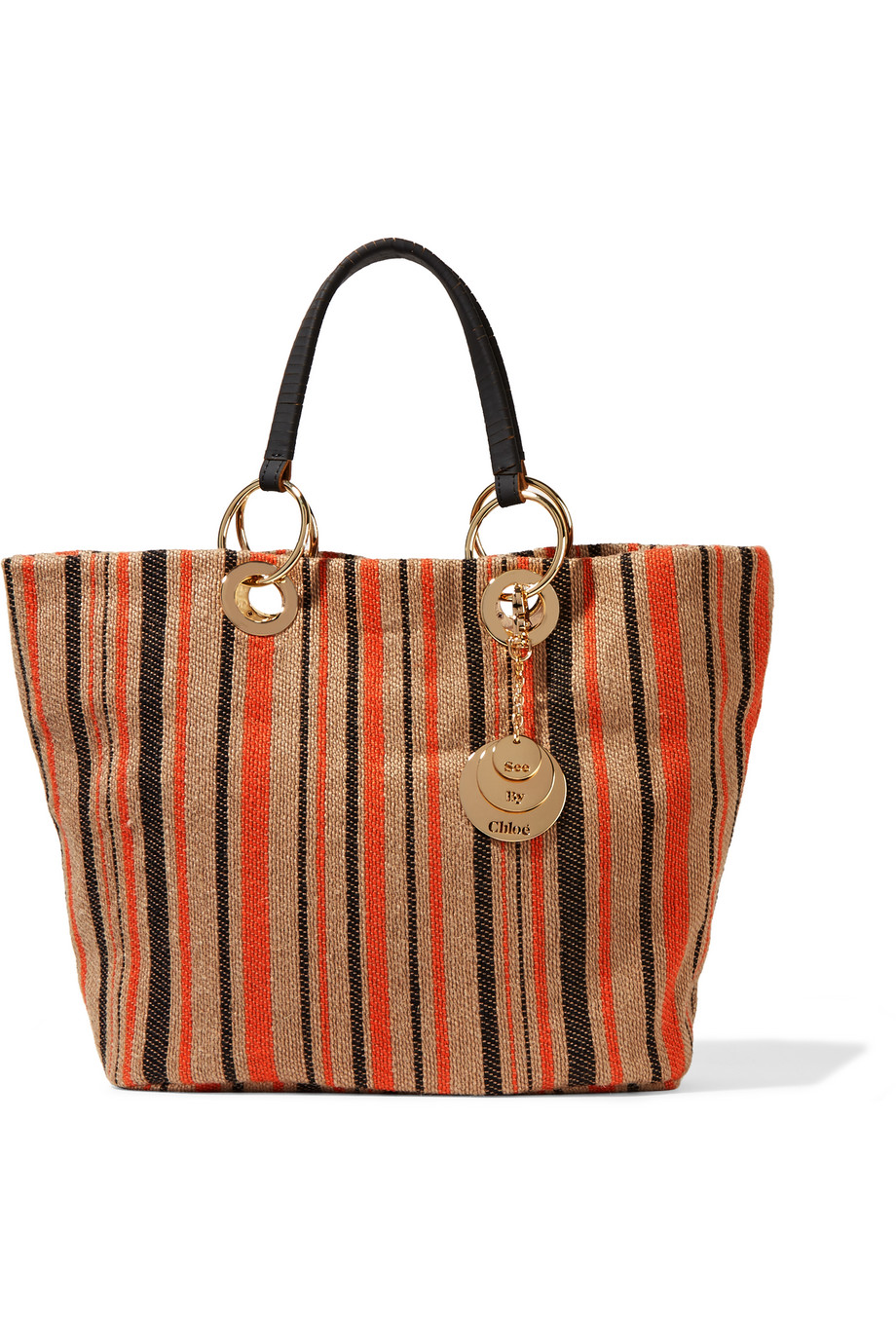 See by Chloé Summer Striped Jute Tote, Beige/Orange, Women's