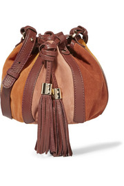 Vicki leather-trimmed suede bucket bag