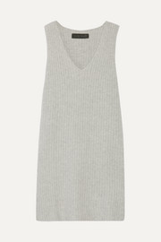 Ribbed cashmere-blend dress