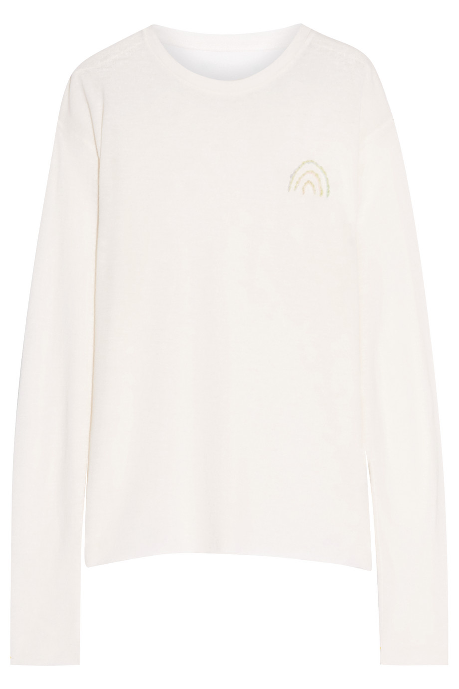 Embroidered Cashmere and Silk-Blend Top, The Elder Statesman, Off-White, Women's