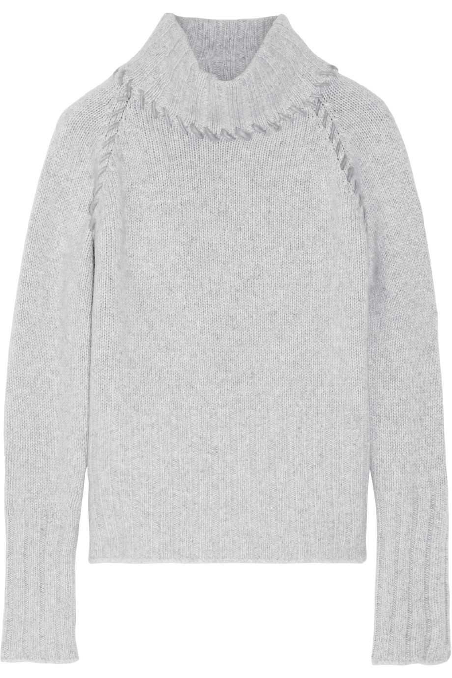 Cashmere Turtleneck Sweater, The Elder Statesman, Light Gray, Women's