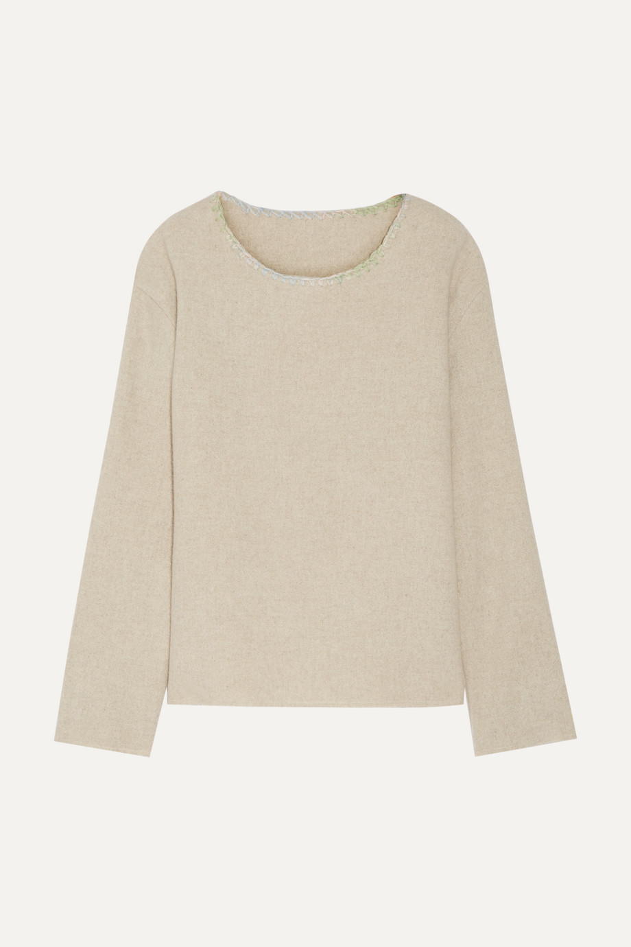 Embroidered Cashmere Sweater, The Elder Statesman, Beige, Women's, Size: M