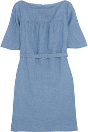 Positano belted linen and cotton-blend chambray dress
