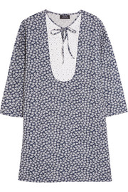 Doria broderie anglaise-paneled printed linen and cotton-blend dress