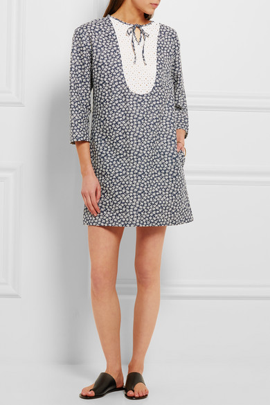 A.p.c. Woman Broderie Anglaise-paneled Floral-print Cotton And Linen-blend Mini Dress Navy Size 38 A.P.C. Sale Visit New Hard Wearing Buy Cheap Brand New Unisex bBrnZW