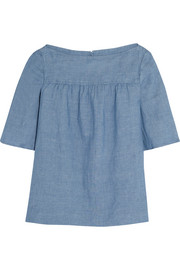 Procida cotton and linen-blend chambray top