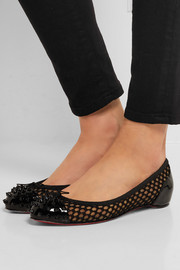 Christian Louboutin Mix spiked patent-leather and embroidered mesh point-toe flats