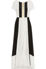 Electra lamé-striped crepe de chine and slub silk maxi dress