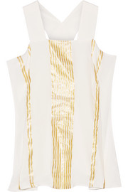 Nereid lamé-striped silk-crepon top