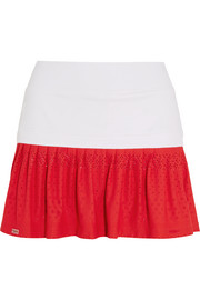 L'Etoile Sport Pleated stretch-satin jersey and lace tennis skirt