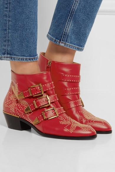 chlo susanna studded textured leather ankle boots net a porter com. Black Bedroom Furniture Sets. Home Design Ideas