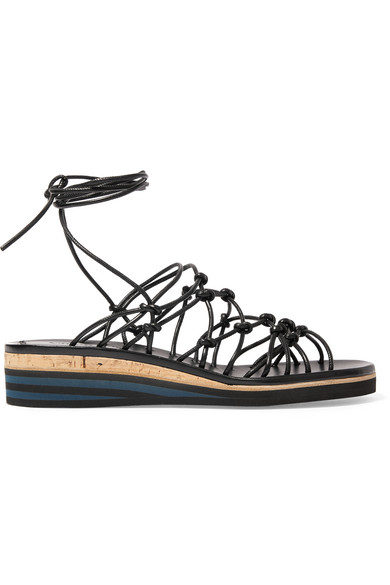 Chloé. Knotted leather wedge sandals