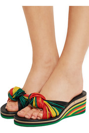 Knotted leather wedge sandals
