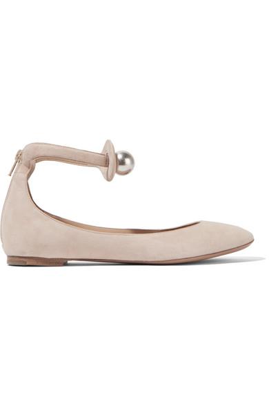 64cdd4dd1 Chloé | Faux pearl-embellished suede ballet flats | NET-A-PORTER.COM