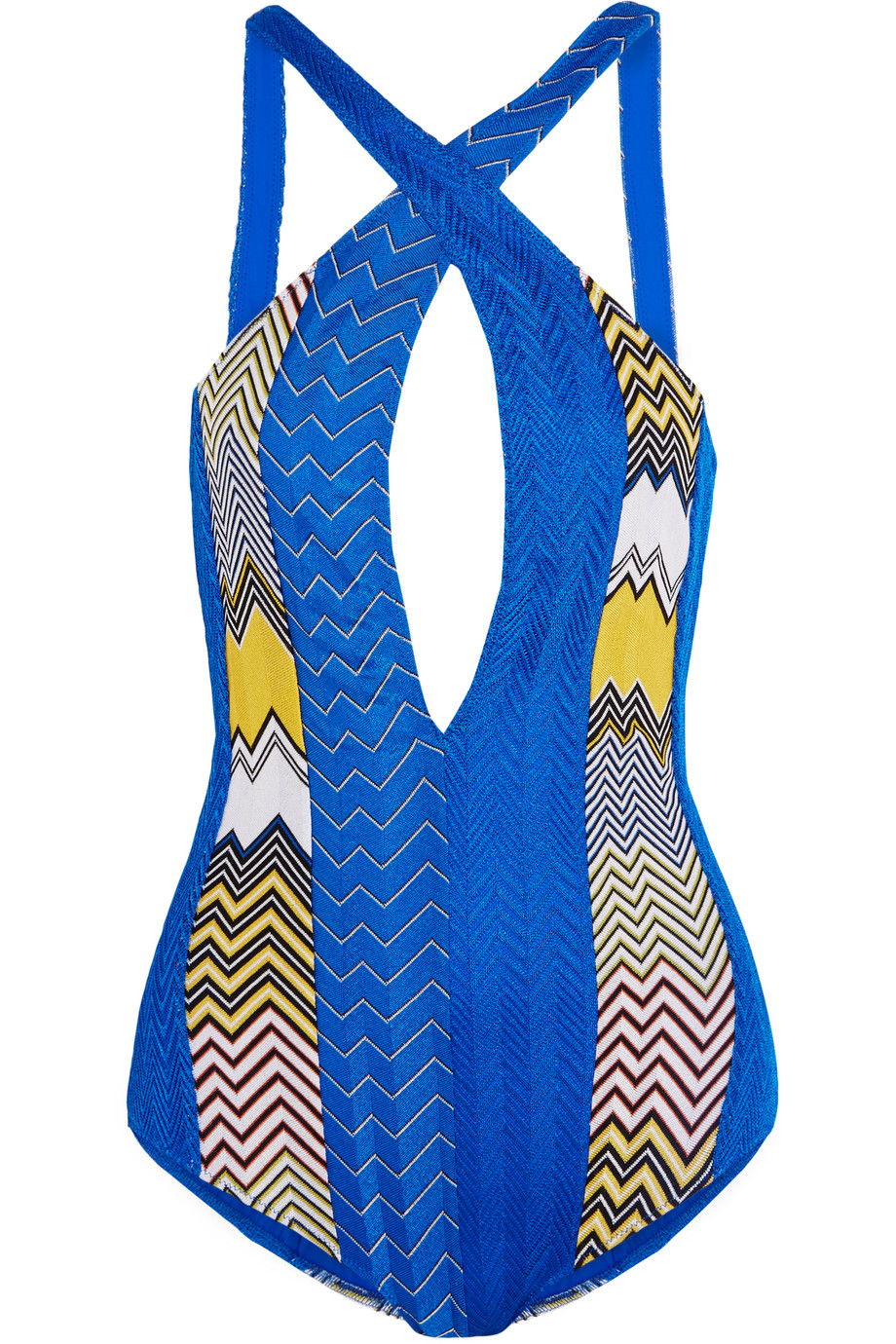 Missoni Mare Crochet-Knit Swimsuit, Bright Blue, Women's, Size: 38