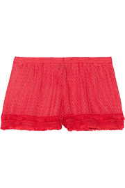 Mare fringed crochet-knit shorts