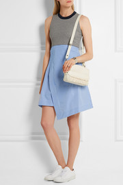 Carven Cotton-blend jersey and striped cotton-poplin wrap-effect dress