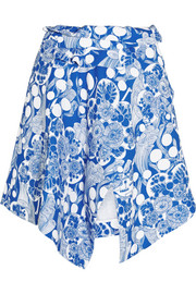 Carven Asymmetric printed crepe mini skirt