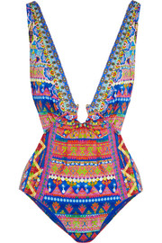 Spirit of Ruh embellished printed swimsuit