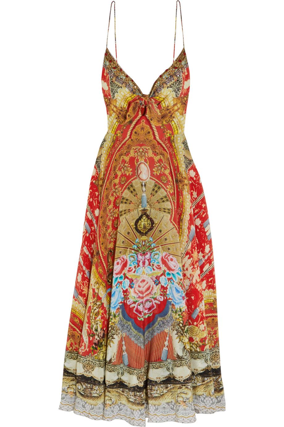 Embellished Printed Silk Crepe De Chine Dress, Crimson, Women's - Printed, Size: 2