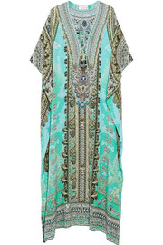 International El Duende embellished printed silk-crepe kaftan
