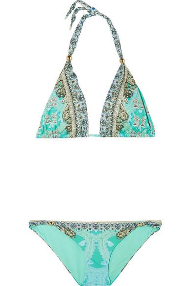 camilla female 263793 camilla el duende embellished printed triangle bikini turquoise