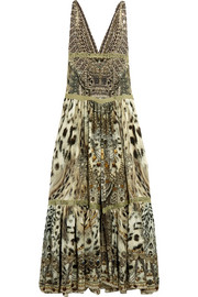 Espiritu lace-trimmed printed silk dress