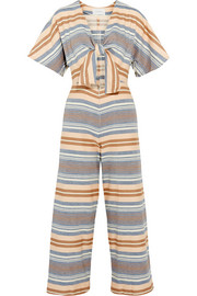 The Tie cutout striped basketweave cotton jumpsuit
