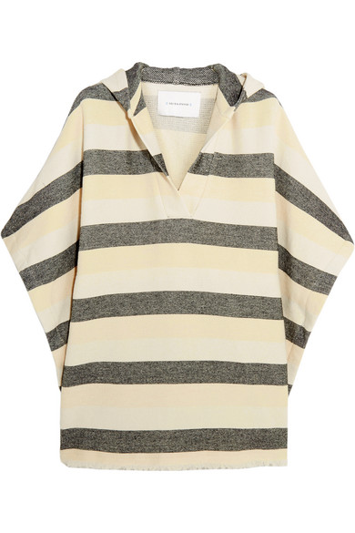 solid and striped female 218263 solid and striped the beach cape striped basketweave cottonblend poncho cream