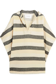 The Beach Cape striped basketweave cotton-blend poncho