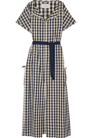 + Poppy Delevingne gingham cotton and linen-blend poplin dress