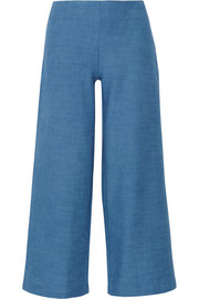 The Side Zip cotton-chambray flared pants