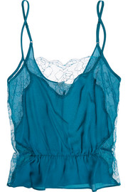 Rose Leavers lace-paneled silk-crepe camisole