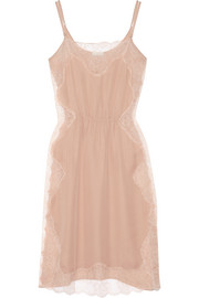 Leavers lace-paneled silk-crepe chemise