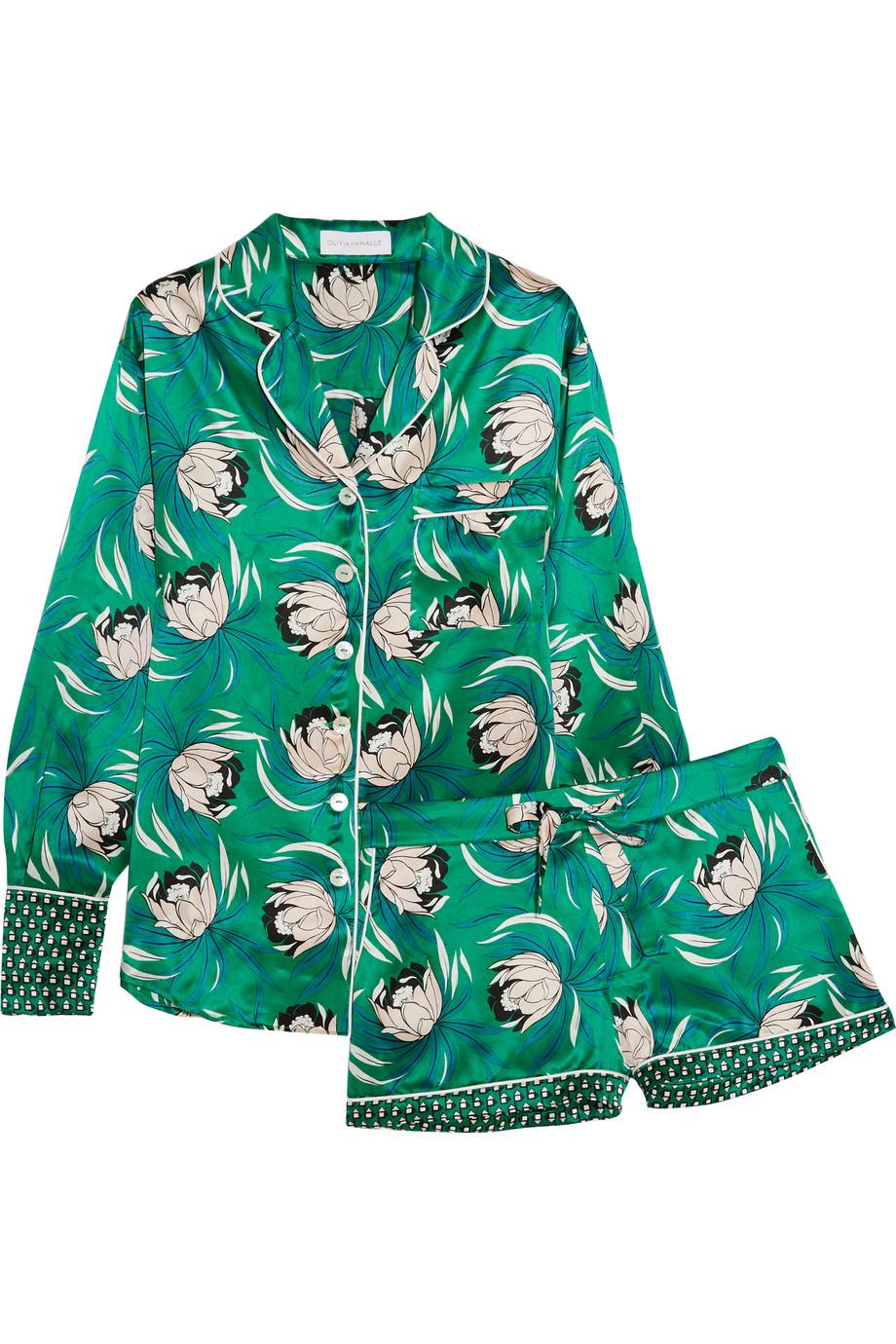 Alba Floral-Print Silk-Satin Pajama Set, Olivia Von Halle, Emerald, Women's, Size: 1