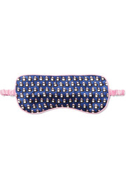 Bacall printed silk-satin eye mask