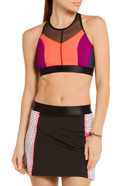 Hi-Energy mesh-trimmed stretch-jersey sports bra