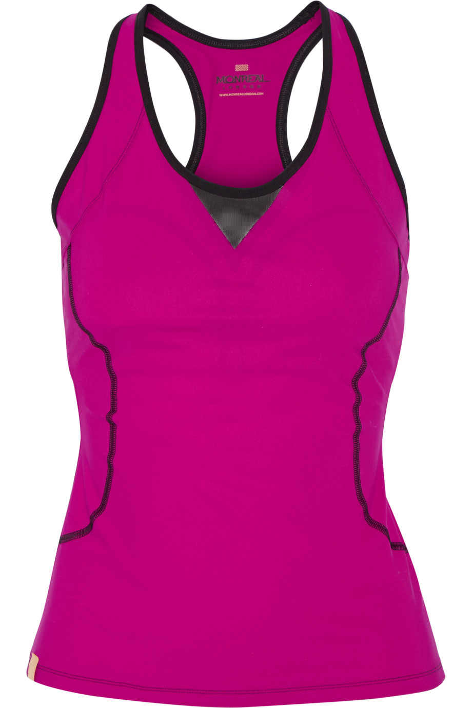Monreal London Speed Mesh-Trimmed Stretch-Jersey Tank, Magenta, Women's