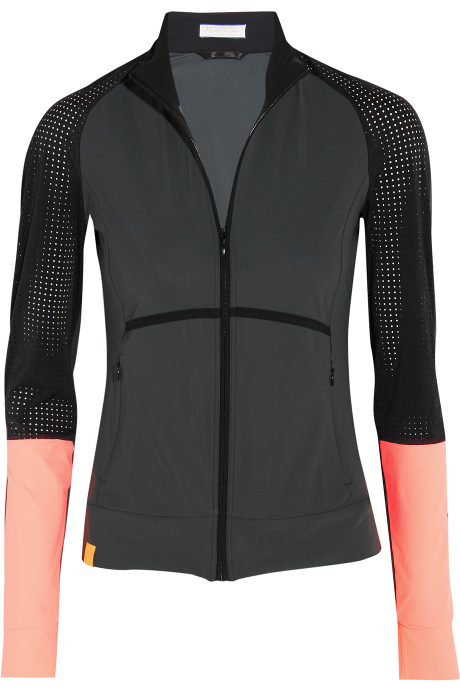 Monreal London Perforated Stretch-Jersey Jacket, Charcoal, Women's
