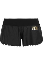 Monreal London Scalloped stretch-jersey shorts