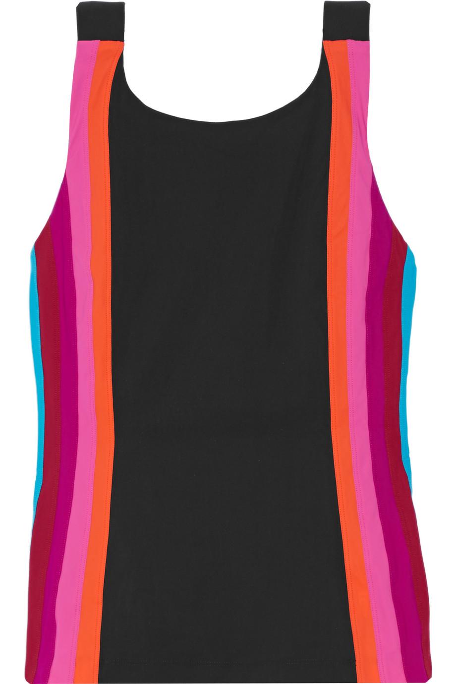 Limu Paneled Stretch-Jersey Tank, Black/Pink, Women's, Size: 00