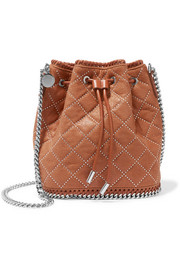 Stella McCartney Falabella studded quilted faux leather bucket bag